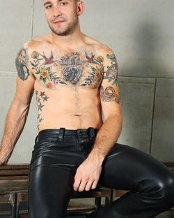 Low-Rise Leather Jeans