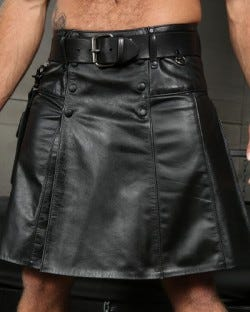Leather Kilt with Belt and Accessory Pouch
