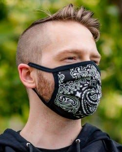 Reversible Hanky Face Mask - Black