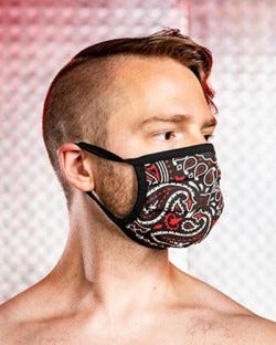 Reversible Hanky Face Mask - Black/Red