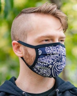 Reversible Hanky Face Mask - Navy
