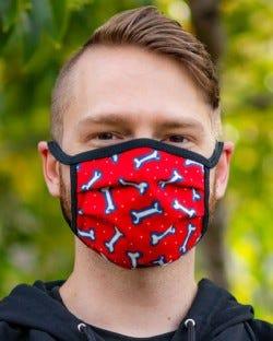 Reversible Hanky Face Mask - Bone Red