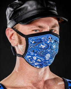 Reversible Kinky Face Mask - Blue