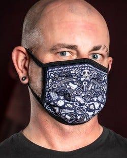 Reversible Kinky Face Mask - Navy