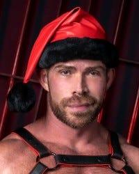 Leather Santa Hat - Red/Black Trim