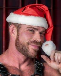 Leather Santa Hat - Red/White Trim