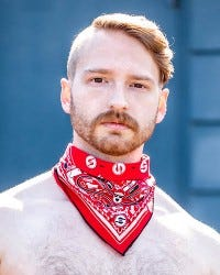 Neck Hanky with Zipper Pocket - Red