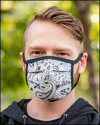 Reversible Hanky Face Mask - Grey