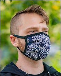 Reversible Hanky Face Mask - Navy