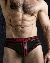 Exposed Mesh Front Zip Brief - Red